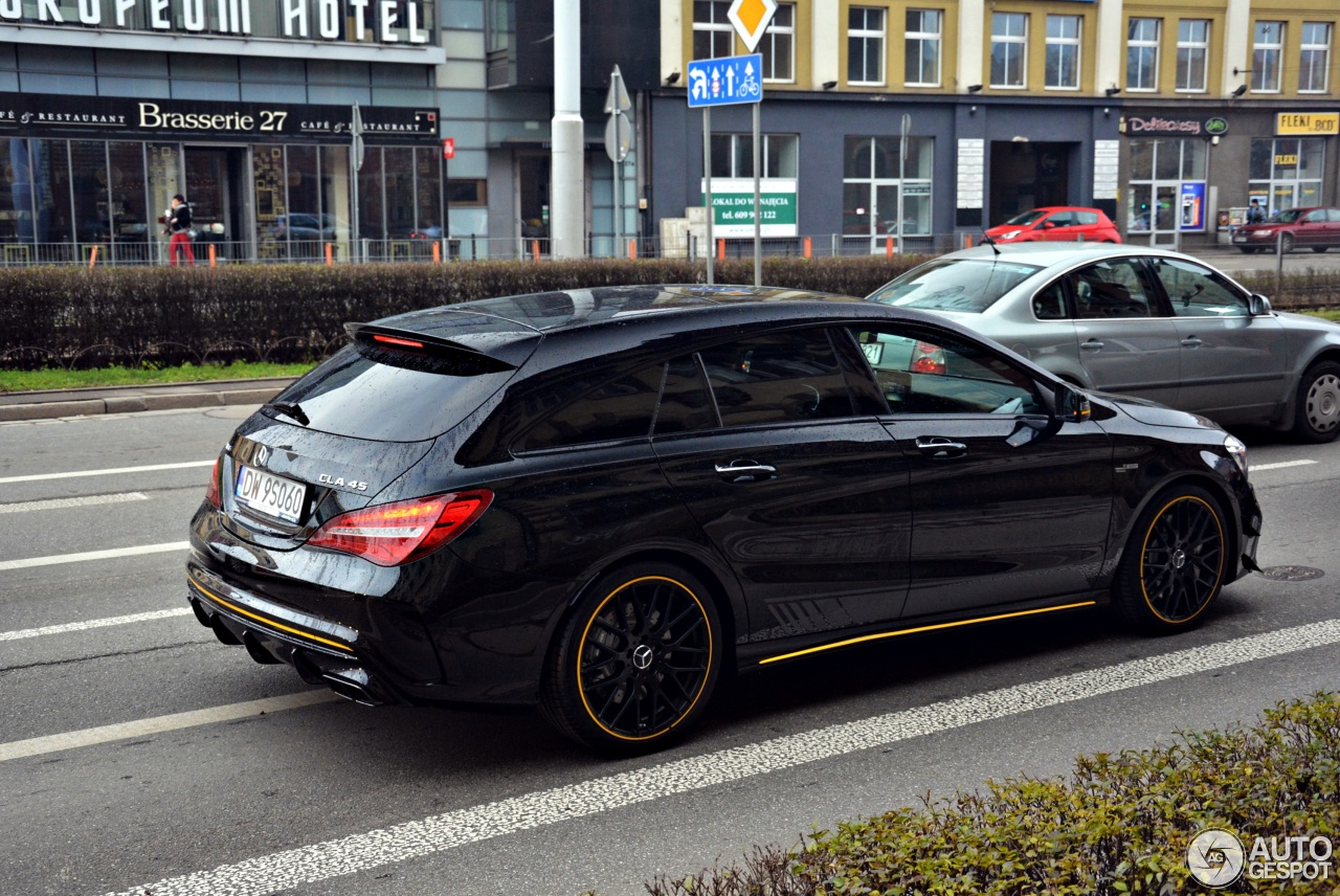 mercedes amg cla 45 shooting brake x117 yellow night edition 16 december 2017 autogespot. Black Bedroom Furniture Sets. Home Design Ideas